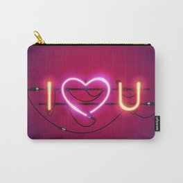 I Love You with Pink Heart Neon Sign Carry-All Pouch