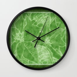 Poinsettias Outlined Green Wall Clock