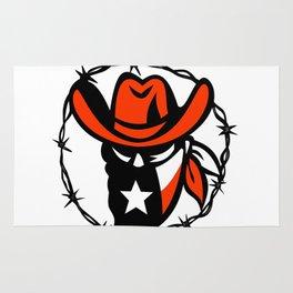 Texan Outlaw Texas Flag Barb Wire Icon Rug