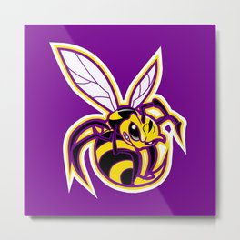 bee mascot yellow purple Metal Print