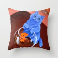 darwin Throw Pillows featuring Gumball and Darwin by Varans