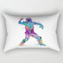 Baseball Player Softball Catcher Colorful Art Watercolor Sports Gift Rectangular Pillow