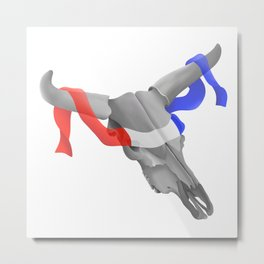 Patriotic Cow Skull Metal Print