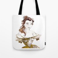 belle Tote Bags featuring Belle by waterandinkprints