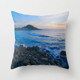 Sunset blue and orange. San Sebastian, Spain. Throw Pillow