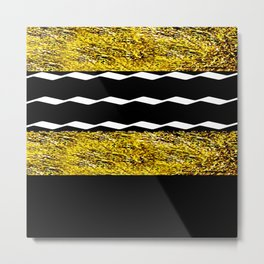 Black and Gold Glamour Pattern Metal Print