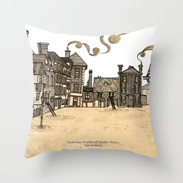 Victorian Frankwell Under Water, sepia Throw Pillow