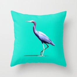 Little Blue Heron Throw Pillow