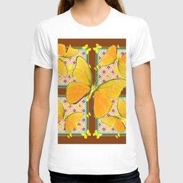 Yellow Butterflies Coffee Brown Pink & Blue Patterns T-shirt