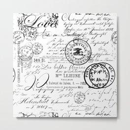 Vintage handwriting black and white Metal Print