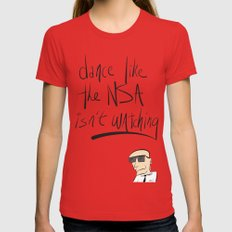 Dance Like the NSA Isn't Watching Red MEDIUM Womens Fitted Tee