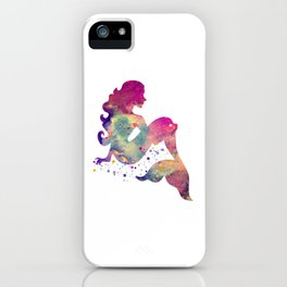 Mermaid Art Colorful Watercolor Purple Artwork Mermaid Sitting Fantasy Art iPhone Case