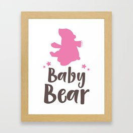 Baby Bear, Little Bear, Bear Cub - Pink Brown Framed Art Print