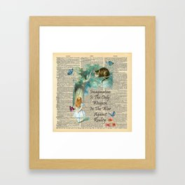Alice In Wonderland Quote - Imagination - Dictionary Page Framed Art Print
