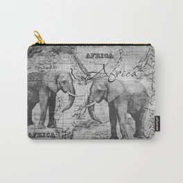 African Spirit Vintage Elephant black white Carry-All Pouch
