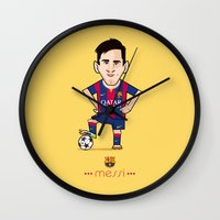 messi Wall Clocks featuring Lio Messi - Barcelona v1 by softdelusion
