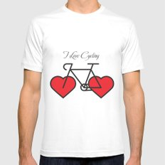 I love cycling White Mens Fitted Tee MEDIUM