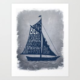 Great Gatsby Hand-Lettered Boat Art Art Print