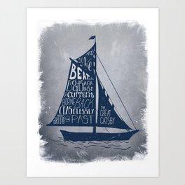 Great Gatsby Hand-Lettered Boat Art Art Print