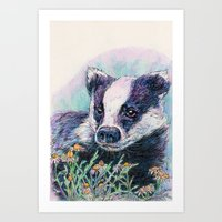 badger Art Prints featuring Badger by Sarah Jane Bradley