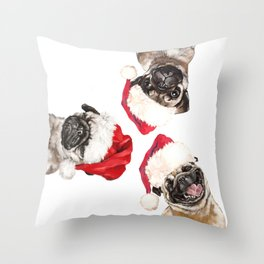 3 Emotional Pugs before Christmas Throw Pillow