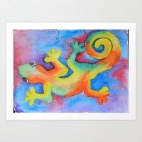 tye dye Art Prints featuring Tye Dye Gecko by The Shelley Studio