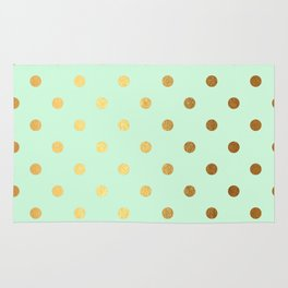 Gold polka dots on mint background - Luxury greenery pantone pattern Rug