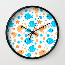 Fish Pattern in White Wall Clock