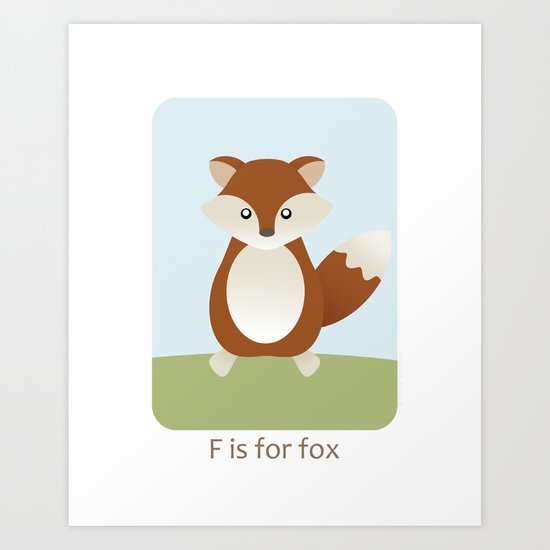F is for Fox - Woodland Animals Art Print