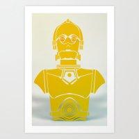 starwars Art Prints featuring StarWars C3PO by Joshua A. Biron