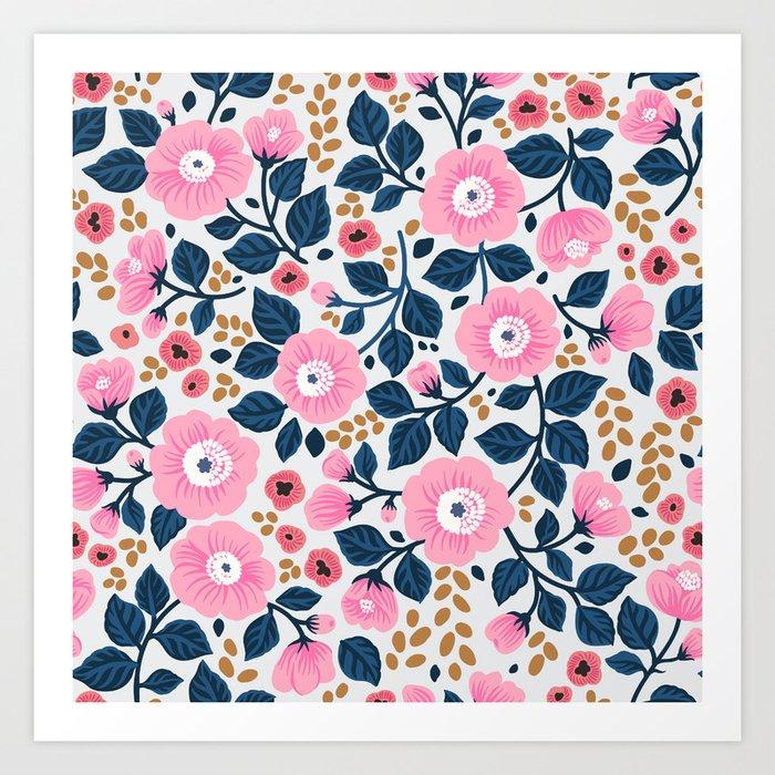 07 Floral pattern. White background. Pink flowers. Kunstdrucke