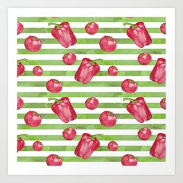 Red Bell Peppers on Green Stripes Art Print