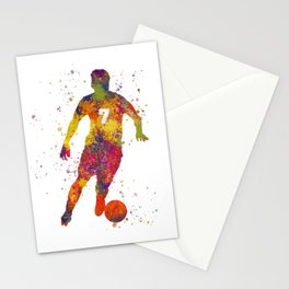 Soccer player isolated 02 in watercolor Stationery Cards