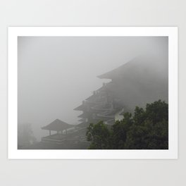 Foggy Temple Art Print