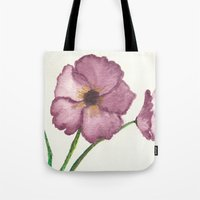 burgundy Tote Bags featuring Burgundy Poppies by trabie