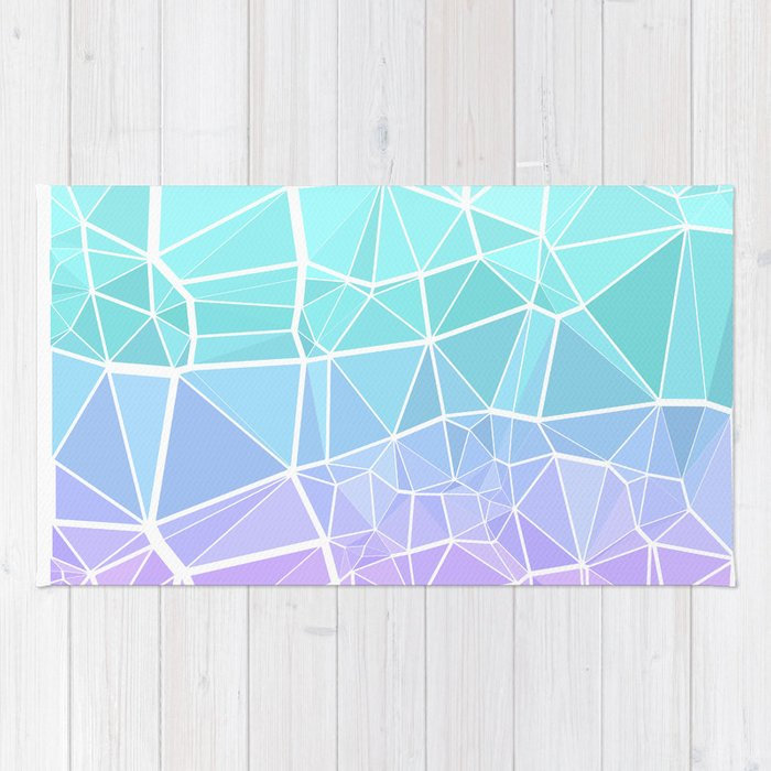 Cyan, Turquoise, and Purple Triangles Rug