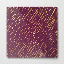 Magenta and Faux Gold Foil Streaks Metal Print