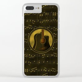 Golden  Acoustic Guitar on notes pattern Clear iPhone Case