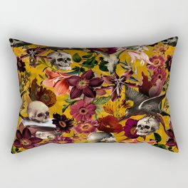 Vintage & Shabby Chic - Floral and Skull Gothic Pattern Rectangular Pillow
