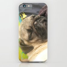 Cute Pug Sleeping - hard day at the beach iPhone 6s Slim Case