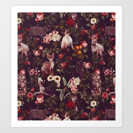 Cat and Floral Pattern Art Print
