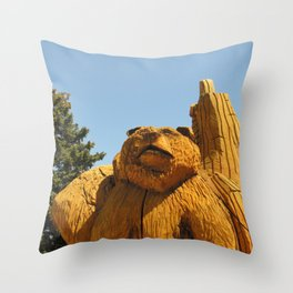 Grizzly in the Tree Throw Pillow
