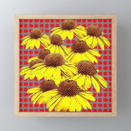 DECORATIVE YELLOW CONE FLOWERS ON RED PATTERN ART Framed Mini Art Print