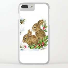 Vintage Christmas Bunnies Clear iPhone Case