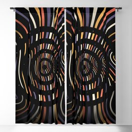 Color op art striped lines with circles Blackout Curtain