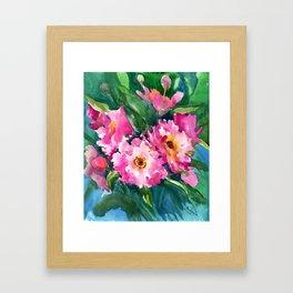 Peonies, garden flowers bright pink green garden floral peony art Framed Art Print