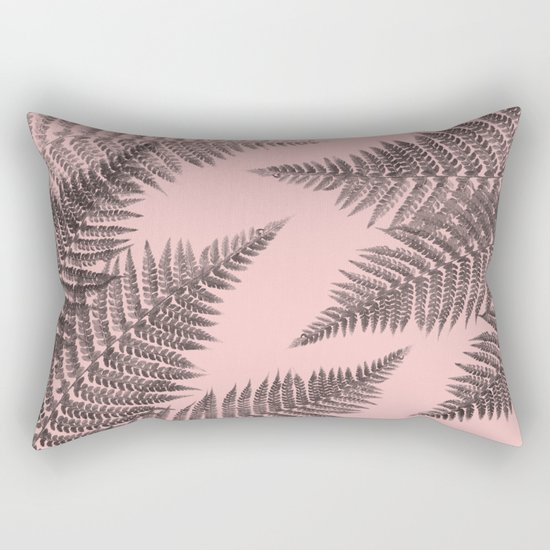 Ferns on Pink Rectangular Pillow
