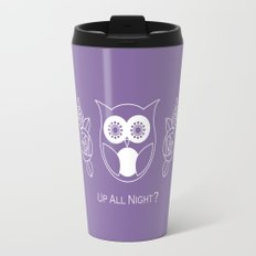 Up All Night? Cute Retro Owl and Roses Travel Mug