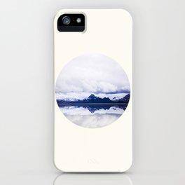 Mid Century Modern Round Circle Photo Graphic Design Navy Blue Arctic Mountains iPhone Case