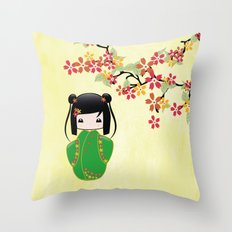 Sakura Kokeshi Doll Throw Pillow